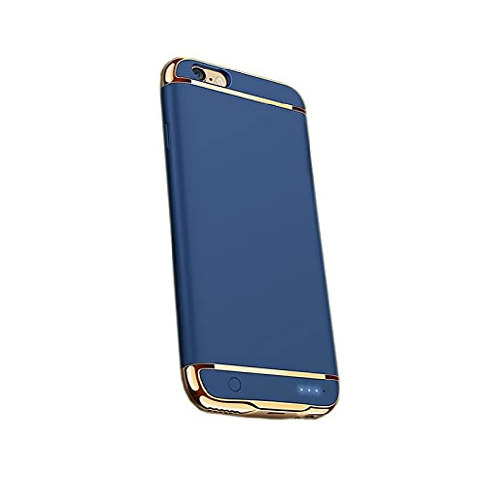 オペラ省ブルゴーニュ☆安心保証つき☆超薄 3パーツ式 バッテリー内蔵ケース 軽量 バッテリーケース 大容量 急速充電 ケース型バッテリーiphone7 iphone 7plus iPhone6 iPhone6plus iPhone6s plus (iPhone7, ブルー)