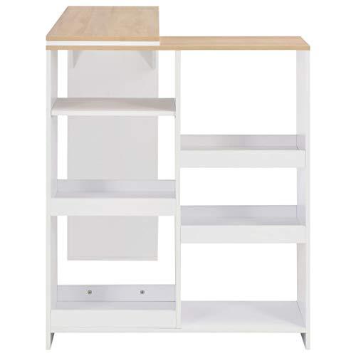 Tidyard Bartisch mit Beweglichem Regal Weiß 138 x 40 x 120 cm Tresentisch Küchentisch Bistrotisch Stehtisch Holz