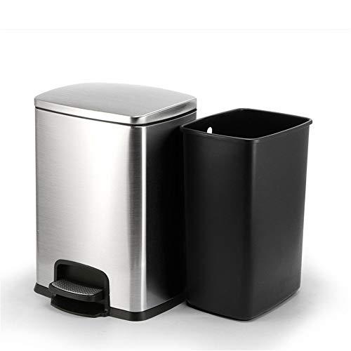 ReedG Bote de Basura de Moda 20L Cubo de Basura de Cocina de Acero Inoxidable Oficina Cubo de la Basura Cuarto de baño Oficina (Color : Metallic, Size : 20L)