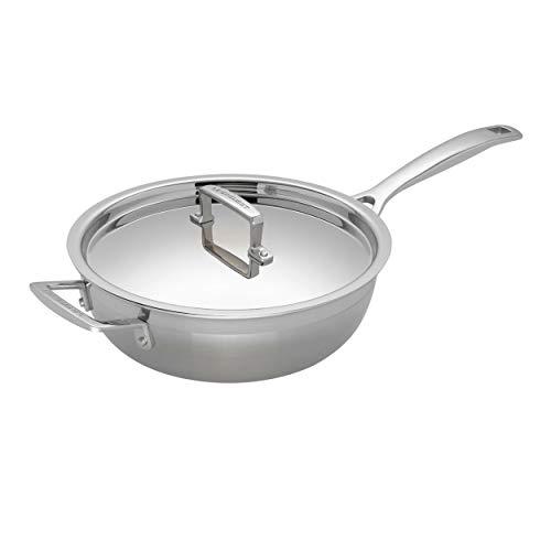 Le Creuset 3-Ply Sartén Sauté antiadherente con tapa, Ø 24 cm, acero inoxidable, libre de PFOA, para todo tipo de fuentes de calor (incl. inducción), metálico
