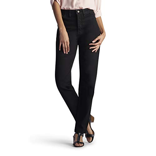 Lee Women's Missy Relaxed-Fit Side Elastic Tapered-Leg Jean, Double Black, 18 Short