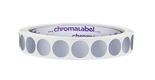 ChromaLabel 1/2 Inch Round Permanent Color-Code Dot Stickers, 1000 Labels per Roll, Metallic Silver