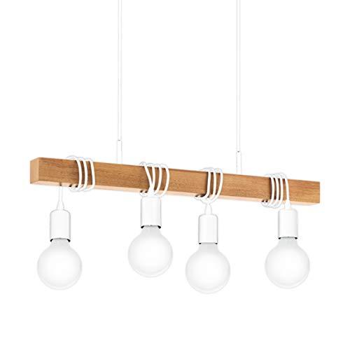 EGLO Lámpara de techo Townshend, lámpara de techo vintage de 4 focos en diseño industrial, lámpara colgante retro de acero y madera, color Blanco, Marrón, Portalámparas E27