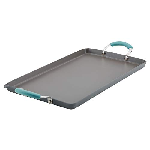 Rachael Ray Brights Hard Anodized Nonstick Double Burner Griddle Pan/Grill with Pour Spout, 18 Inch x 10 Inch, Gray with Agave Blue Handles