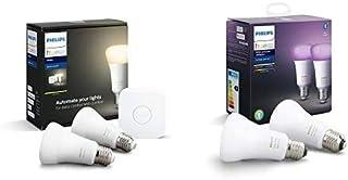 Philips Hue Pack de 2 Bombillas Inteligentes LED E27 y Puente, con Bluetooth, Luz Blanca Cálida, Compatible con Alexa y Google Home + Pack de 2 Bombillas Inteligentes LED E27, con Bluetooth