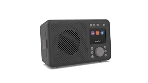 Pure Elan DAB+ - Radio DAB+ portatile con Bluetooth 5.0 (DAB/DAB+ e radio FM, display a colori TFT, 20 stazioni, tasti preimpostati, connettore jack da 3,5 mm, funzionamento a batteria, USB), carbone
