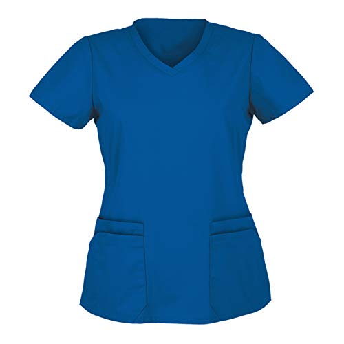 Womens Tops Holiday Blouse Short Sleeve V Neck Working Uniform Christmas Thanksgiving Printing Women_Scrub_Top Tee Shirt