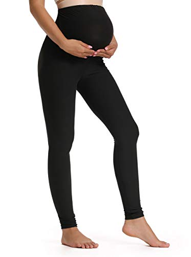 Foucome Women's Maternity Leggings Over The Belly Pregnancy Active Workout Yoga Tights Pants (Black, Medium)