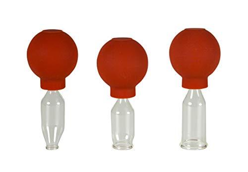 Lauschaer Glas 3er Schröpfglas-Set mit Ball 10-15-20mm zum professionellen, medizinischen, feuerlosen Schröpfen mundgeblasen, handgeformt, Schröpfglas, Schröpfgläser, Original