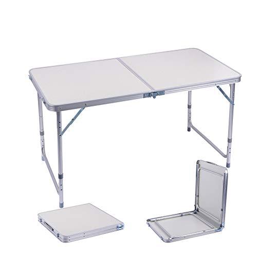 Campingtisch Klapptisch 1,2m Tragbare Einstellbare Höhe Picknick Esstisch Barbecue Gartentisch Falttisch mit Koffergriff Drinnen und Draußen