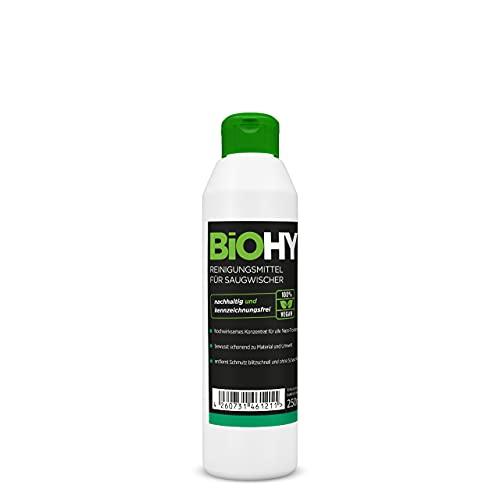 BiOHY Limpiador para limpiaparabrisas, botella de 250 ml, concentrado 1:100 para todos los aspiradores húmedos y secos, ideal para azulejos, PVC, parqué, laminado y alfombra, sostenible y ecológico