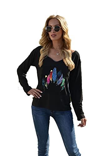 SLYZ Camiseta De Manga Larga De Primavera para Mujer, Sombrero De Plumas, Camiseta Estampada con Cuello En V, Camiseta De Manga Larga para Mujer