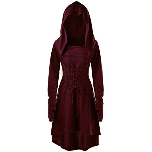Women Hoodie Women Dress Elegant Comfortable Halloween Cosplay Witch Long-Sleeve Ladies Hooded Dress Autumn New Stage Play Costume Solid Color Women Dress A-Red 3XL