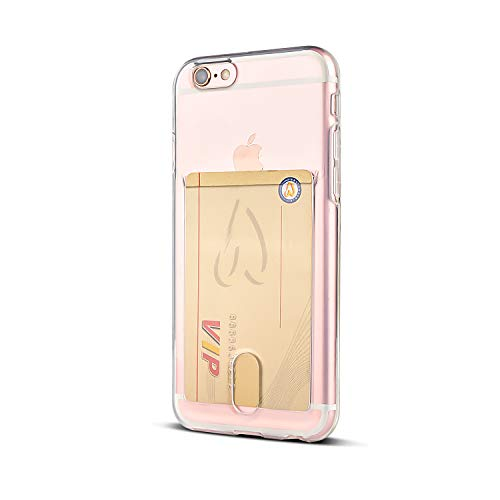 Wormcase ® Kunststoffhülle mit Kartenfach kompatibel für das Appel iPhone 6 / 6s Plus - Transparent - TPU Schale Back-Cover Schutz-Tasche Kratzfest Stoßfest Bumper Crystal-Clear dünn leicht schmal