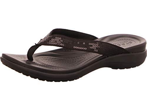 Crocs Capri V Sequin Flip, Mujer Sandalia, Negro (Black), 37-38 EU
