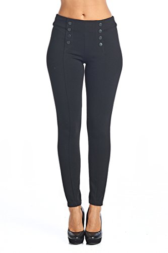 Ci Sono High Waist Leggings with Button Detailing (Extra Large) Black