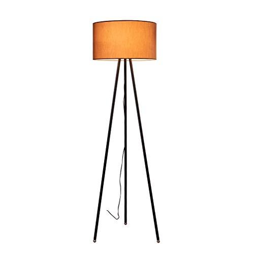 Luces Decorativas Suelo de trípode Lámpara de pie clásica con sombra Vintage Tall Pole Light for dormitorio Sala de estar Sala de oficinas Lámparas (Color : Brown)