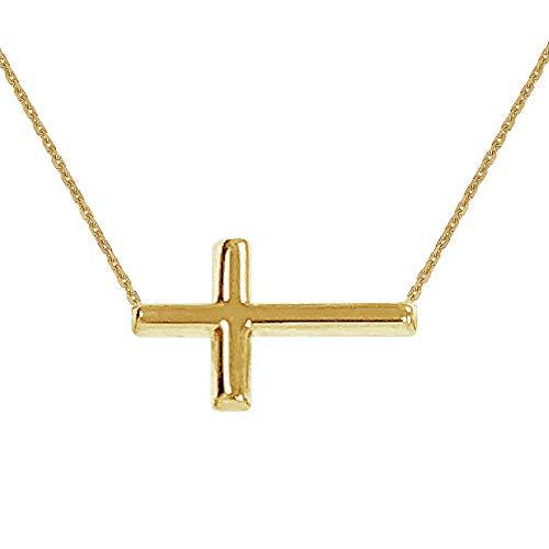 14k Yellow Gold Two-tone Cross Pendant 2.39g