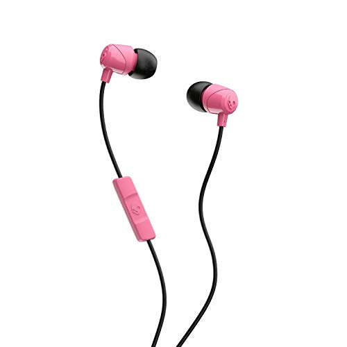 Skullcandy Jib in-Ear Noise-Isolating Earbuds with Microphone and Remote for Hands-Free Calls, Lightweight, Stereo Sound and Enhanced Base, Wired 3.5mm Jack, Pink/Black