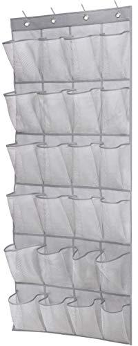 MISSLO Over The Door Shoe Organizer Hanging Closet Holder Hanger Storage Bag Rack with 24 Large Mesh Pockets, Gray