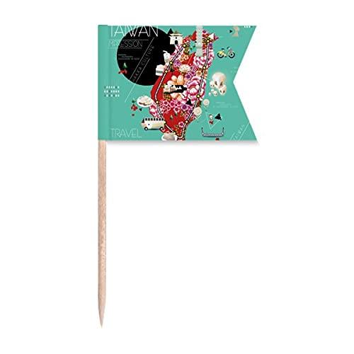 Traditionelle Taiwan-Flaggen für Zahnstocher, Markierung für Party, Kuchen, Lebensmittel, Käseplatte