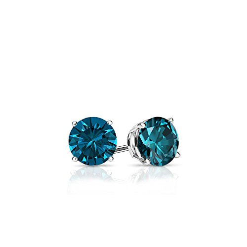 Blue - Round Brilliant Cut Diamond Earring Studs in 14K Gold (0.25 carats)