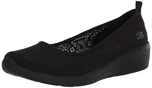 Skechers Arya - Airy Days, Ballerines Bout fermé Femme, Noir (Black Crochet/Trim BBK), 37 EU