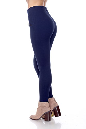 PP133 Ci Sono High Waist Legging W/Zipper Accent (Large, Navy)