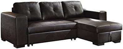 Best ACME Lloyd Black Faux Leather Sectional Sofa with Sleeper
