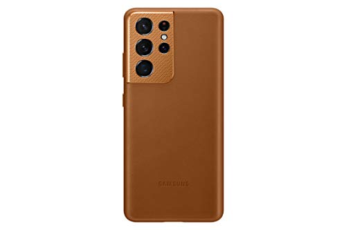 Samsung Galaxy S21 Ultra Case, Leather Back Cover - Brown (US Version)