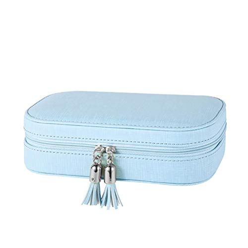 Decoratieve box Sieraden kast Kleine kwastje reizen sieraden doos/gift bag, mooi meisje geschenk doos met spiegel (roze, zwart, blauw) grote juwelendoos Juwelendoos (Color : Blue)