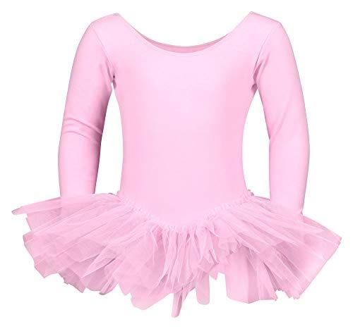 tanzmuster ® Ballettkleid Mädchen Langarm - Alea - (Größe 92-170) Tutu aus weicher Baumwolle Ballettbody Ballett Trikot in rosa, Größe 128/134