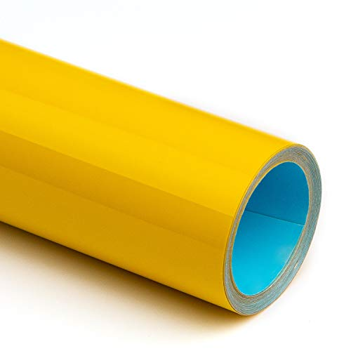 SHOMKIEE PU Matte Heat Transfer Vinyl HTV Iron on Rolls 12Inches x 5 feet Rolls for T Shirt Stretchable for Silhouette and Cameo D3(Yellow)