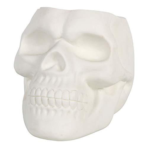 Dashamce Übertopf mit Totenkopf-Motiv, groß, für Halloween, Totenkopf, Süßigkeitenschüssel, Schreibtisch-Dekoration (weiß)