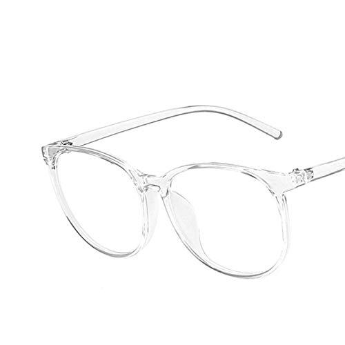 NJJX Gafas Transparentes Para Ordenador, Montura Para Mujeres Y Hombres, Gafas Redondas Anti Luz Azul, Gafas De Bloqueo, Montura De Gran Tamaño, Anteojos Para Oficina, Blanco