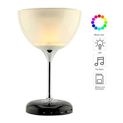 Bluetooth-förmiges Nachtlicht in Form von 2-in-1-Bluetooth-Weinglas, Bunte intelligente Lampe, Musik abspielen, telefonieren.