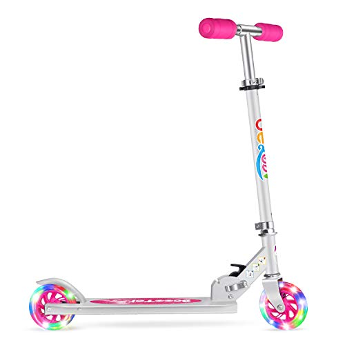 Beleev V1 Scooters for Kids 2 Wheel Folding Kick Scooter for Girls Boys, 3 Adjustable Height, Light Up Wheels for Children 5 to 14 Years Old (Pink)