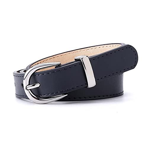 GWYUQG Cinturones de hombre para cinturones de moda hebilla de aleación para niñas, pantalones vaqueros, cinturones de vestir unisex (color: negro, tamaño: 90 cm)