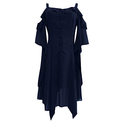 LEXUPE Damenmode Dark In Love Rüschenärmel Schulterfrei Gothic Midi-Kleid(Marine,X-Large)