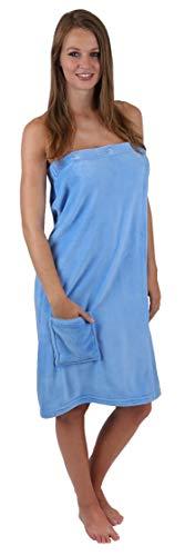 Betz Damen Saunakilt Sauna Kilt Wellness Regulierbar der Weite durch Knöpfe und Gummizug Farbe hellblau