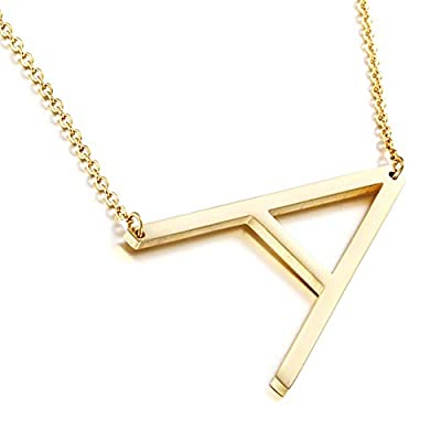 MOMOL Sideways Initial Necklace 18K Gold Plated Stainless Steel Large Big Letter A Pendant Necklace Script Name Monogram Necklaces for Women (A)