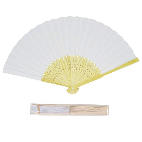 CHU KE (50packs Bamboo Folding Fan Handheld Fans Paper Folded Fan for Wedding Party and Home Decoration (White)