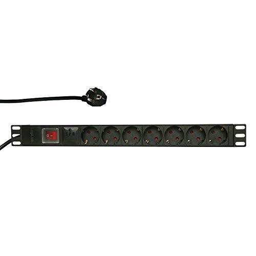Faconet - Regleta de 7 enchufes Schuko CEE7/3, 19 pulgadas, con interruptor y protección contra subidas de tensión, 19 pulgadas