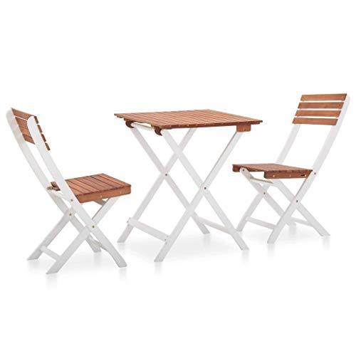 Qazxsw Juego de bistró de Madera Maciza de Acacia de 3 Piezas, Juego de Muebles Plegables para terraza, Patio al Aire Libre, Mesa y sillas de jardín, marrón Oscuro y Blanco