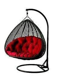 Art GHAR Swing Chair with Stand (1 Adult 1 Baby ) , Cushion & Hook-Outdoor | Indoor | Balcony | Garden | Patio (Black & Dark Red)