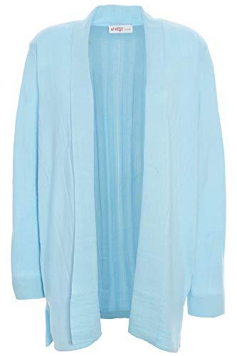 Sheego Cardigan Strickjacke Gehrock Damen Feinstrick Plusgröße, Farbe:hellblau, Damengrößen:48