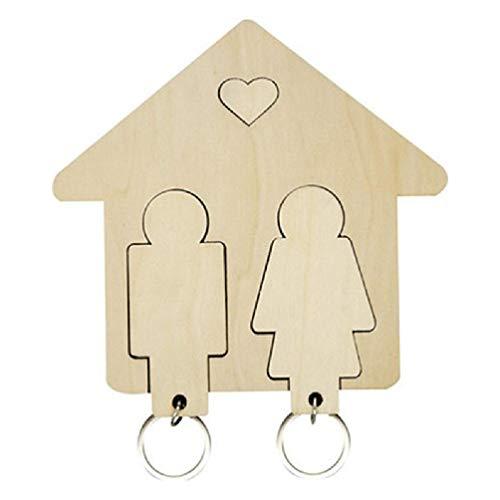 Llavero creativo para colgar en la pared, con forma de casa de madera, para decoración del hogar, regalo de mamá, día de la madre, regalo de Pascua, llavero