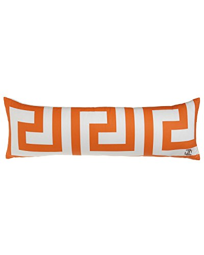 Jill Rosenwald Key's Oblong Print Decorative Pillow, 12 by 36-Inch, Tangerine