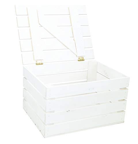 Kistenkolli Altes Land Obstkiste Holztruhe geflammt, Weiss oder Natur mit Deckel 48 x 36 x 27cm Holzkiste mit Deckel Schatztruhe Aufbewahrungskiste (Weiss, 1)