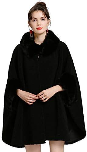 Women's Cashmere Cloak with Faux Fur Edge Plus Size Coat Wrap for Winter